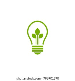 Green contour of electric light bulb with three green leaves. Isolated on white. Flat outline icon. Vector illustration. Go green. Eco friendly. World environment day