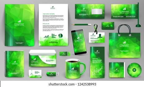Green corporate identity promotional set. Professional branding design template.  Business stationery mock-up. Folder, letter, cover, broshure, letterhead, coffee cup, business card, bag, badge