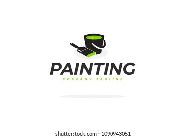 Green Corporate Painting Logo Vector With Brush And Bucket