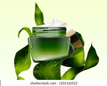 Green cosmetic cream jar mockup with seaweed in 3d illustration