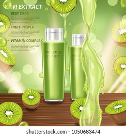 Green cosmetic with kivi fruits