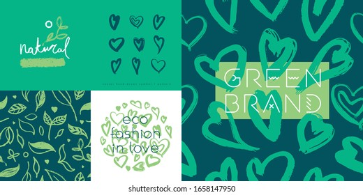 Green cosmetic pattern, eco cosmetics concept for bio cosmetics banner. Vector icons of heart. Eco friendly seamless background. Natural pattern and logo for beauty care products. Label tag template.