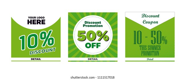 Green coupon design vector for website, promotion, discount etc.