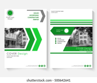 Green cover broshure design, broshure template for annual report. Modern business broshure concept booklet. Magazine brochure with text. Catalog broshure layout page A4. Vector newsletter publication