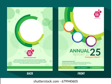 Green cover in a circle style. Abstract lines on a Green background. Cover for business reports, books, booklets, brochures, Posters. Stylish cover with space for text and title.