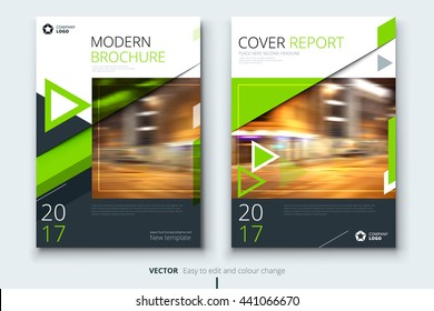 Green Cover Corporate business template for brochure, report, catalog, magazine. Layout with modern styled photo and abstract triangle shapes. Creative presentation, poster, flyer or banner concept