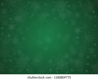 Green Cover, Poster, Card, Banner or Background with Snowflakes. Design in Merry Christmas and Happy New Year Style with Winter Snow. Happy Holidays. Horizontal Format. Winter and Snow Background.