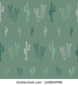 Green cowboy boots cactus seamless pattern background