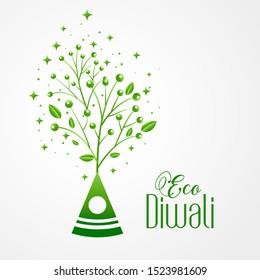 green crackers eco friendly happy diwali concept design