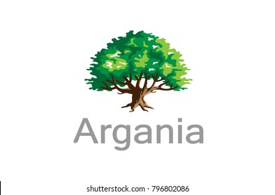 Green Creative Argania Tree Logo Design Symbol Illustration
