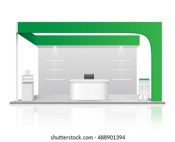 Green creative exhibition stand design. Booth template. Corporate identity vector.