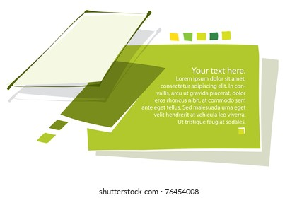 Green creative page design, blank text, vector (contains transparency)