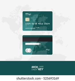 Green Credit Card vector illustration. The front and back side of the card against the background of the world map.