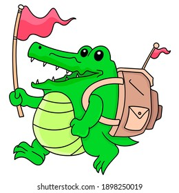 a green crocodile boy carrying a bag with a happy face goes on an adventure, doodle draw kawaii. vector illustration art