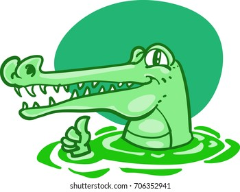 green crocodile funny cartoon vector illustration