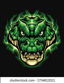 green crocodile head detailed illustration  in packaging design, decoration, print, t-shirt design, etc.