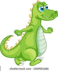 Green crocodile on white background illustration