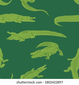 The green crocodiles. vector pattern for paper and fabric