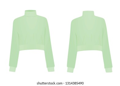 Green crop sweater. vector illustration
