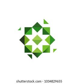 Green cross, herbs logotype. Octagonal star, muslim symbol, unusual geometrical logo design. Vector illustration or logotype template.