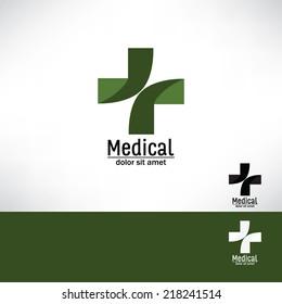 Green cross. Medical symbol. Vector