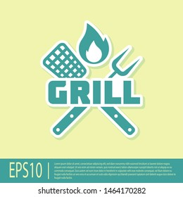 Green Crossed fork and spatula icon isolated on yellow background. Fire flame sign. BBQ fork and spatula sign. Barbecue and grill tools. Vector Illustration