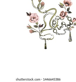 Green crossing belts pink pastel roses greeting cart tamplate. Fashion vintage floral sketch on white background. Baroque fabric design