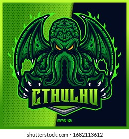 Green Cthulhu grab text esport and sport mascot logo design in modern illustration concept for team badge, emblem and thirst printing. Mad Cthulhu illustration on Green Background. Vector illustration