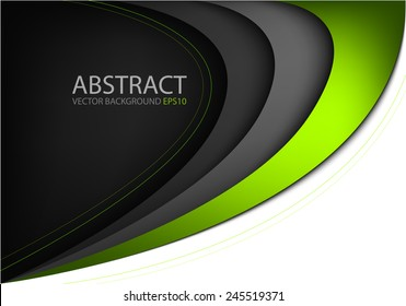 Green curve line background on black dark background and white space for text and message modern website design
