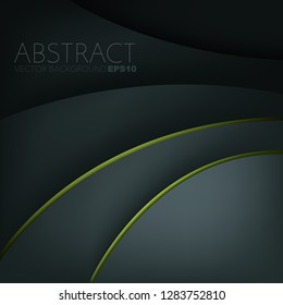Green curve line vector background dark element