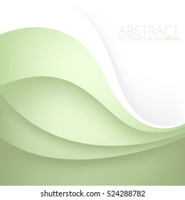 Green curve line vector background overlap paper layer with white space for text and message artwork design