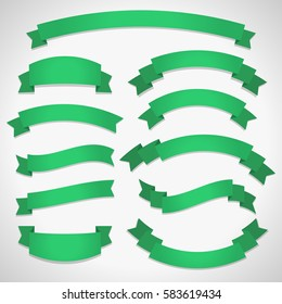 Green curved ribbon banners set isolated on light background, perfect for web design and advertisement. Vector illustration eps10.