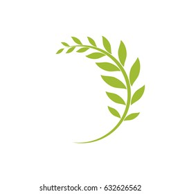 Green curved sprig isolated on white. Round border with leaves. Flat design. Vector illustration.