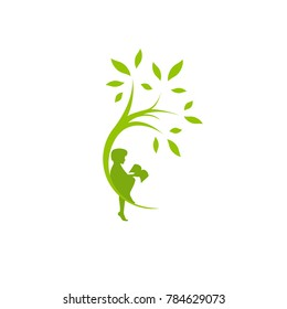 Green curved tree with leaves and child with book. Round border with boy. Isolated on white. Flat design. Vector illustration. Children education or care sign. Childhood logo.