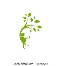Green curved tree with leaves and child with sprout. Round border with boy. Isolated on white. Flat design. Vector illustration. Children education or care sign. Childhood logo.
