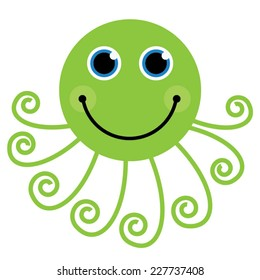 Green Cute Cartoon Octopus