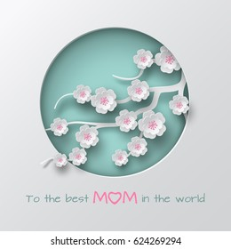 Green cuted circle decorated branch of cherry flowers on white background for mother's day or women's day greeting card, congratulation text, paper cut style. Vector illustration, layers are isolated