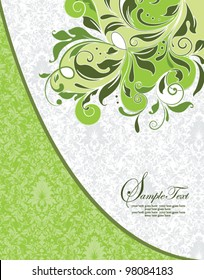 GREEN DAMASK INVITATION CARD