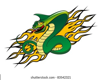 Green danger snake in cartoon style as a warning concept. Rasterized version also available in gallery