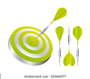 green darts with dartboard isolated over white background