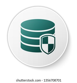 Green Database protection icon isolated on white background. Secure database icon. Green circle button. Vector Illustration