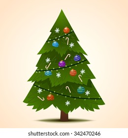 Green decorated Christmas fir-tree for the New Year for your congratulations. Vector Illustration.