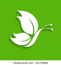 Green decorative butterfly-vector illustration