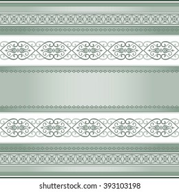 Green decorative seamless  border.  Colored element for design in Eastern style and place for your text. Vintage pattern for invitations, greeting cards, wallpaper. Traditional floral decor.