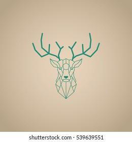 Green deer head and horns vector design with brown gradient background