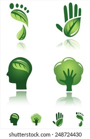 Green Design Icons - Vector designs of environmental concepts.  Each icon is grouped individually for easy editing.  Colors are global for easy editing.