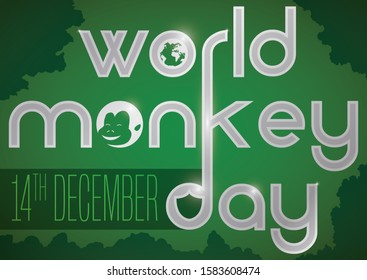 Green design with smiling chimp face, globe and shield in the text over a dense foliage to celebrate World Monkey Day this 14th December.