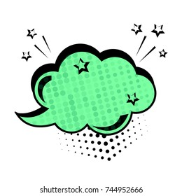 Green dialog box. Colored empty cloud with dots and stars.Comic sound effects in pop art style. Vector illustration.