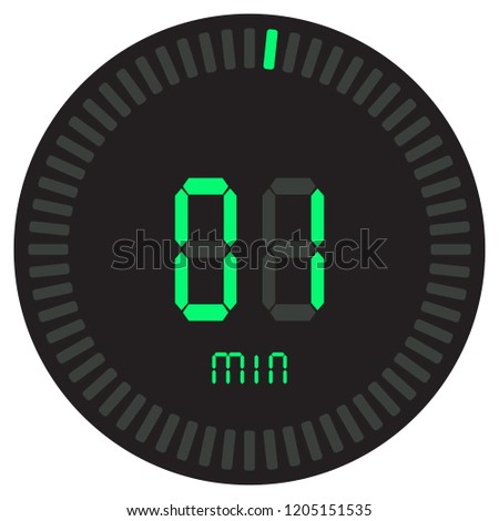 green digital timer 1 minute electronic stock vector royalty free