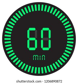 The green digital timer 60 minutes, 1 hour. electronic stopwatch with a gradient dial starting vector icon, clock and watch, timer, countdown symbol.